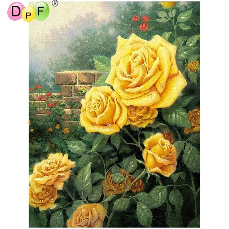 DPF DIY rosas amarillas 5D decoración del hogar diamante pintura punto de cruz manualidades cuadrado rombo bordado pintura de pared diamante masaic