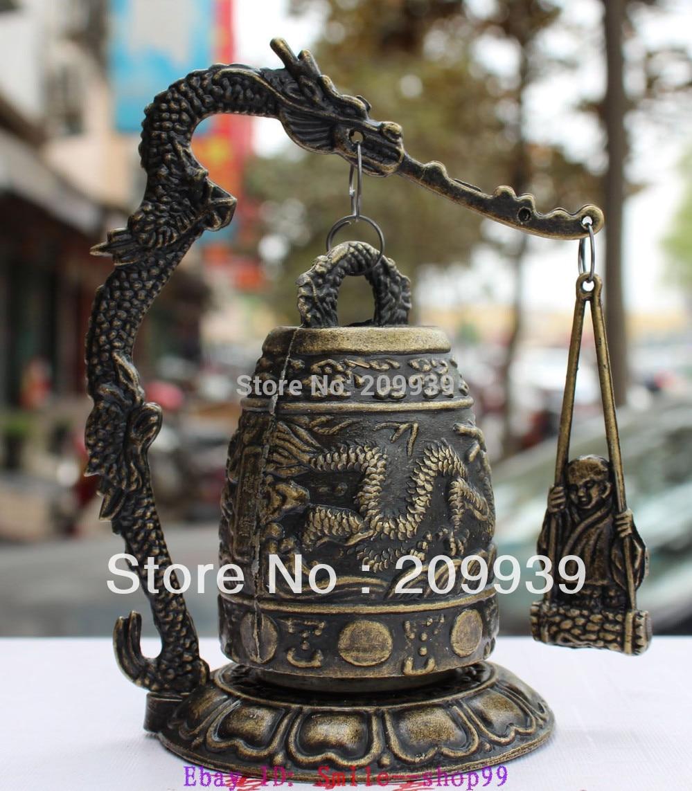 Estatua de bronce chino de latón para budismo huij 0017 de 5 pulgadas con forma de Bola de Dragón y campanas de templo
