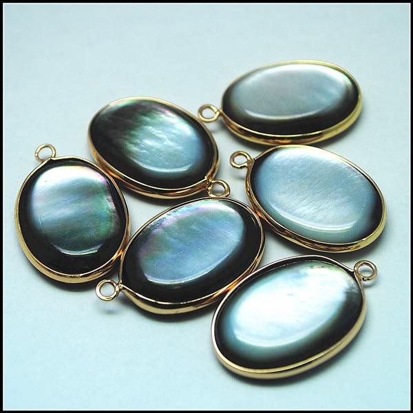 3 uds. Colgantes de cuentas de concha negra tamaño 20x25mm con colgantes de concha de agua salada de metal dorado conectores de concha de perla madre de