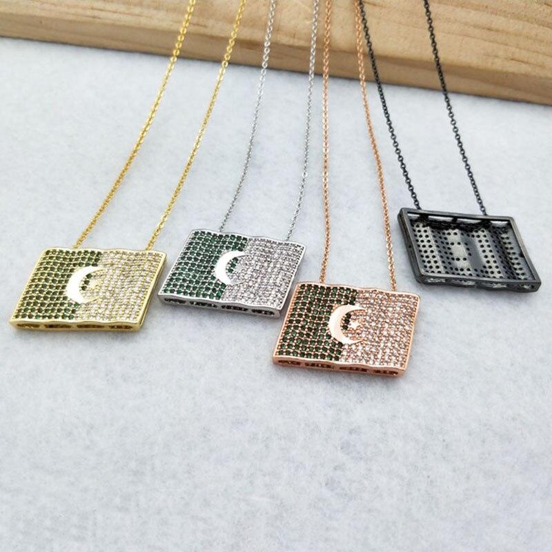 5 piezas bandera mundial Micro pavé cristal cúbico Zirconia colgantes encantos joyería encontrar, collar de Bandera de Argelia para mujer NK342