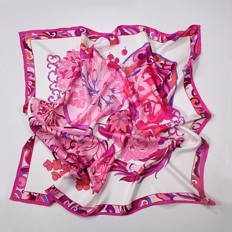 """35"""" Large Square 100% Twill Silk Scarf Hijab Head Scarves for Women's Fashion Floral Silk Shawl Wraps Foulard"""