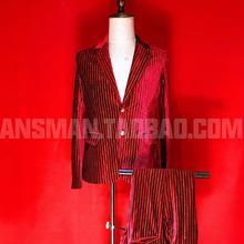 Klub nocny Bar męski piosenkarka dorywczo kostium z długim rękawem Dj czerwony gorący aksamit wąskie garnitury płaszcz 2020 nowych mężczyzna mody żakiet z dzianiny dresowej S-5xl