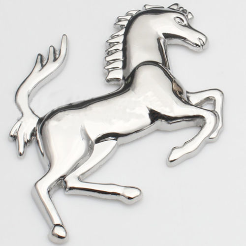 Izquierda derecha significa la cabeza del caballo dirección coche de casa Metal dorado plateado Acero inoxidable Ferrari estilo insignia del caballo emblema 3D pegatina de Metal