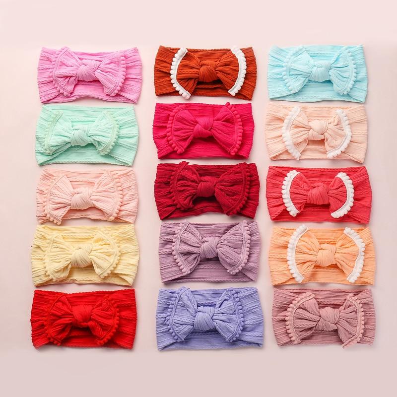 30pcs Pompom Trim Wide Nylon Bows Headbands,Baby Girls Cable Knit Turban Knot Headbands,Todder Infants Soft Nylon Hair Accessory