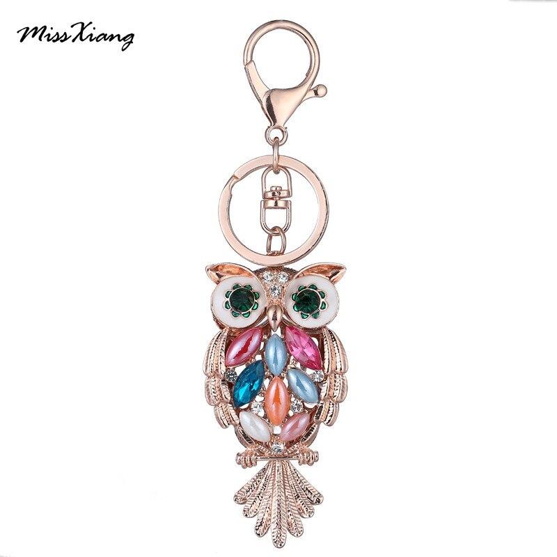 MissXiang nouvelle marque célèbre hibou couleur strass porte-clés sac pendentif Chic cristal voiture porte-clés porte-anneau bijoux de mode