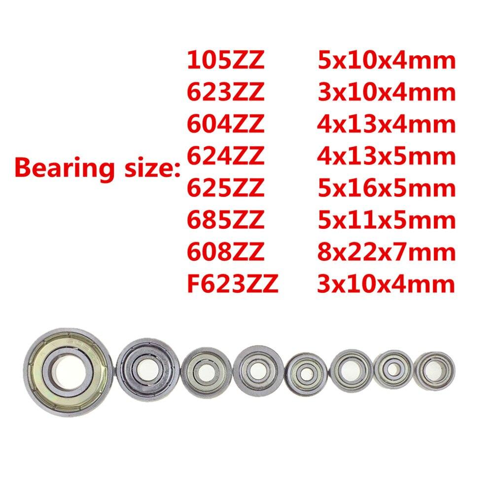 10pcs Double Shielded Miniature High-carbon Steel Single Row 608ZZ 105ZZ 623ZZ  624ZZ 625ZZ 685ZZ F623ZZ 604ZZ  Ball Bearing
