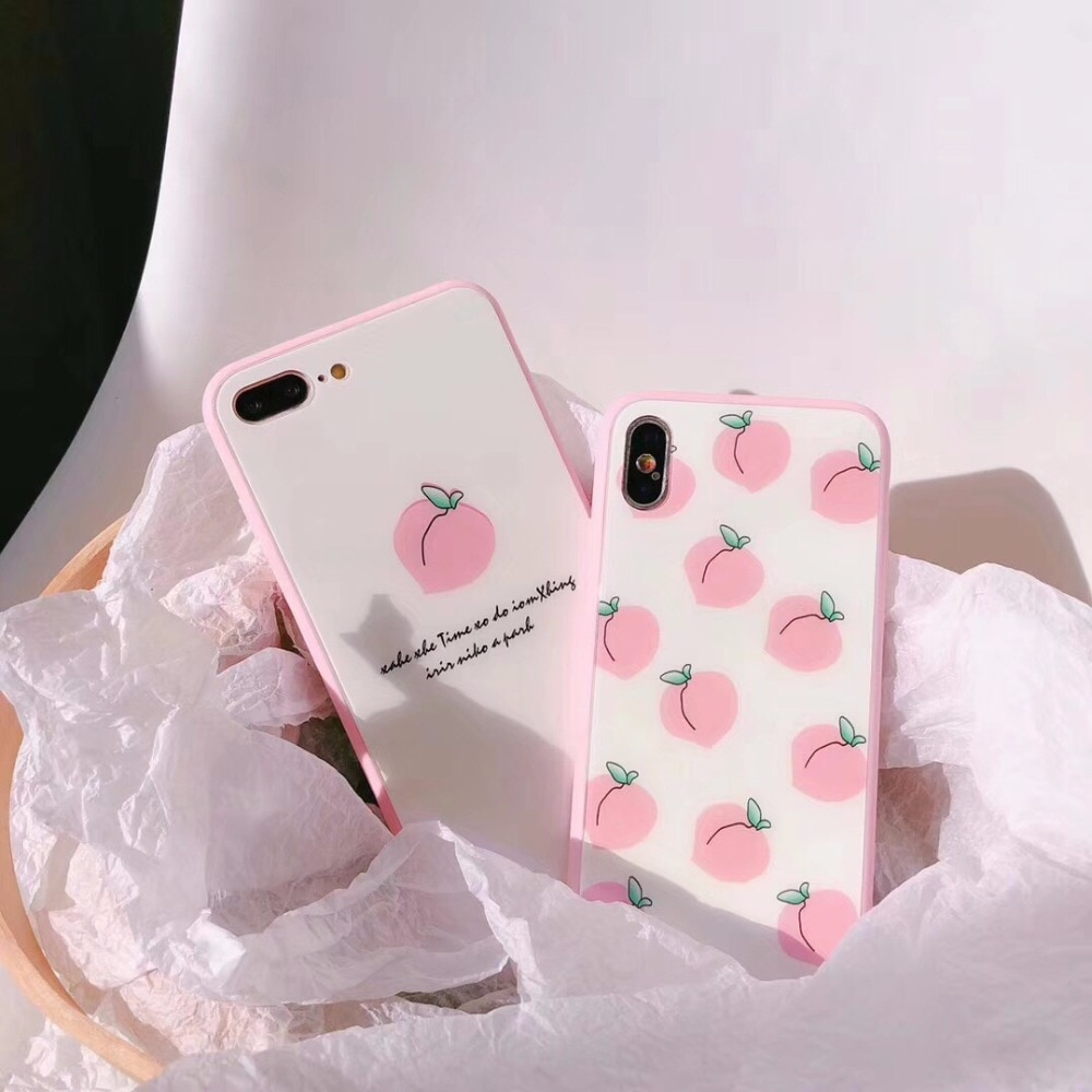 Maosenguoji розовый чехол для мобильного телефона из закаленного стекла в Корейском Стиле Персикового Цвета для iphone 6 6s 6plus 7 8plus X XS MAX 10 Модный чехол