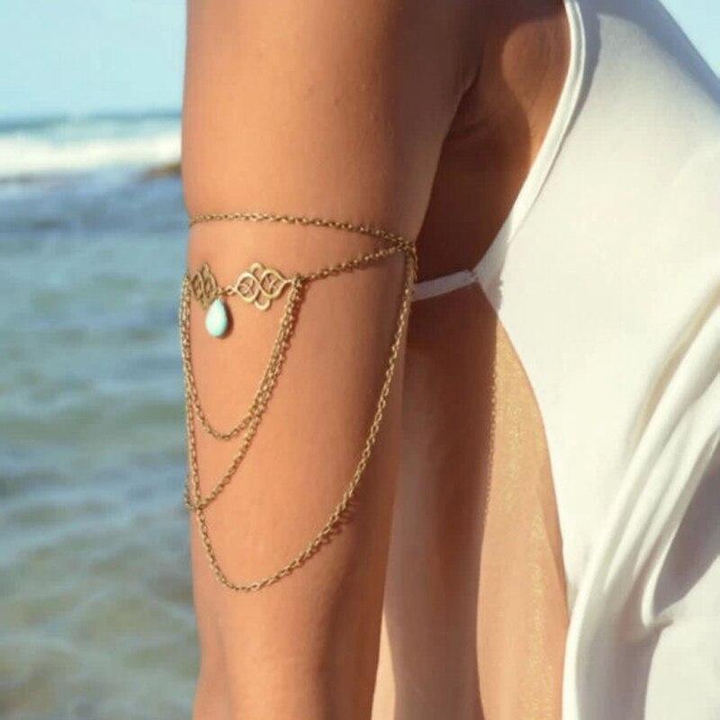 Bohemian Arm Kette Schulter Armband Frauen Vintage-Schmuck Gothic Teardrop Quaste Oberen Strand Arm Armband Harness Shellhard