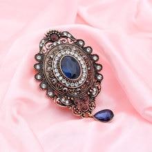 Albanie ethnique ovale cristal Relief Vintage pendentif broche pour les femmes Antique couleur or goutte deau résine épinglette Bijoux de mariée