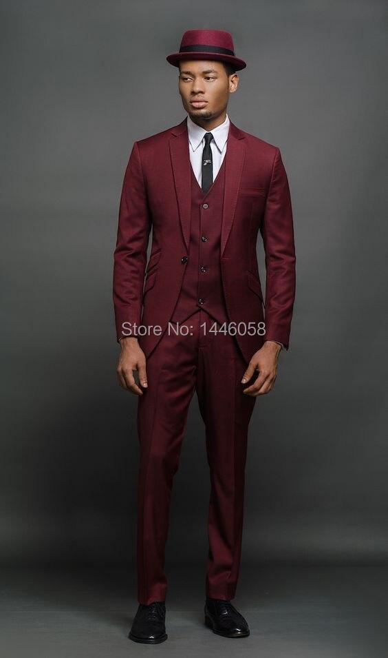 2018 جديد تصميم الأزياء أوم عنابي الرجال البدلة تفصيل وصيف العريس سهرة عرس بدلة رسمية الأعمال حزب البدلة