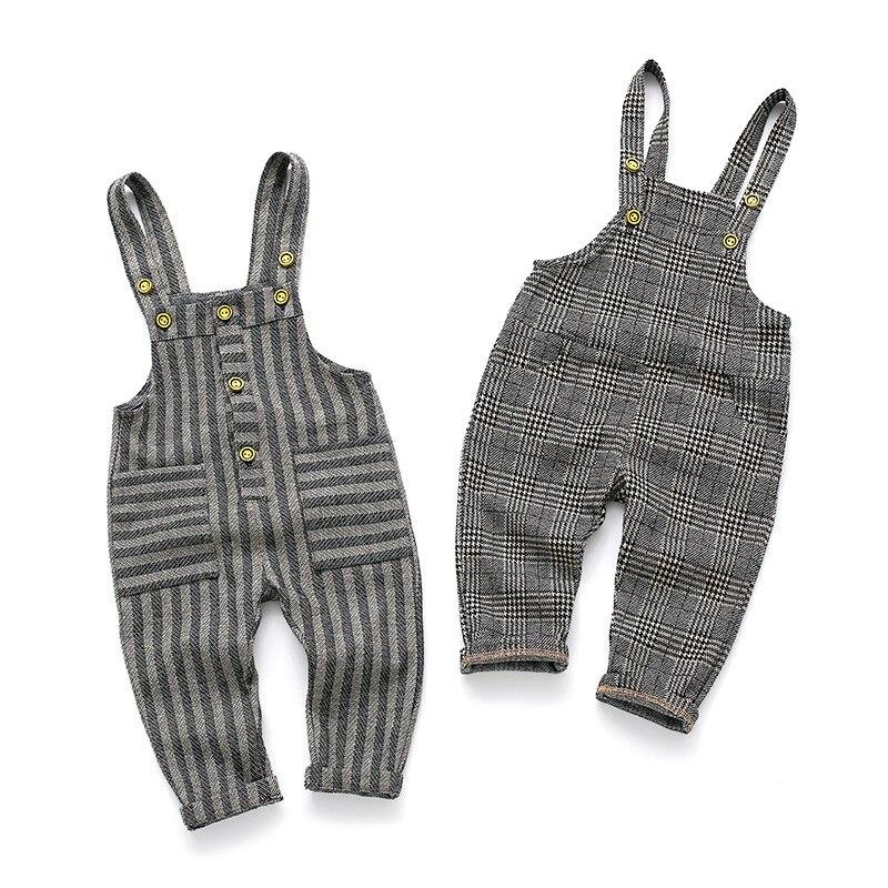 Primavera otoño bebé niño niña mono de algodón a rayas overol a cuadros niños bolsillo de moda babero Pantalones Mono para bebés, niños