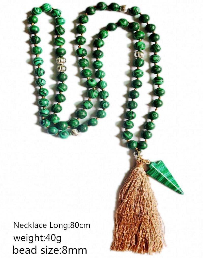 8CM Green Malachite Stone Mala Prayer Bead Boho tassel long necklace