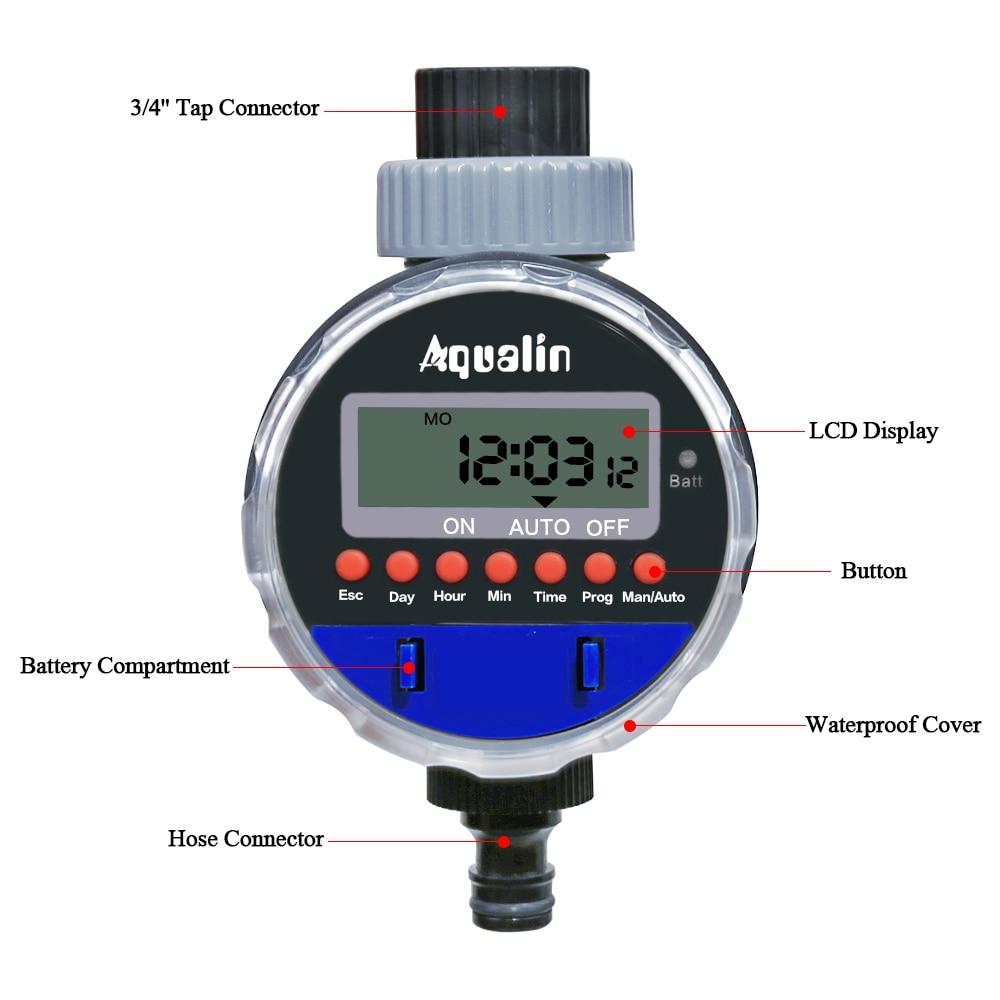 Pemasa penyiraman automatik dengan paparan LCD pemasa air injap bola - Peralatan berkebun - Foto 4
