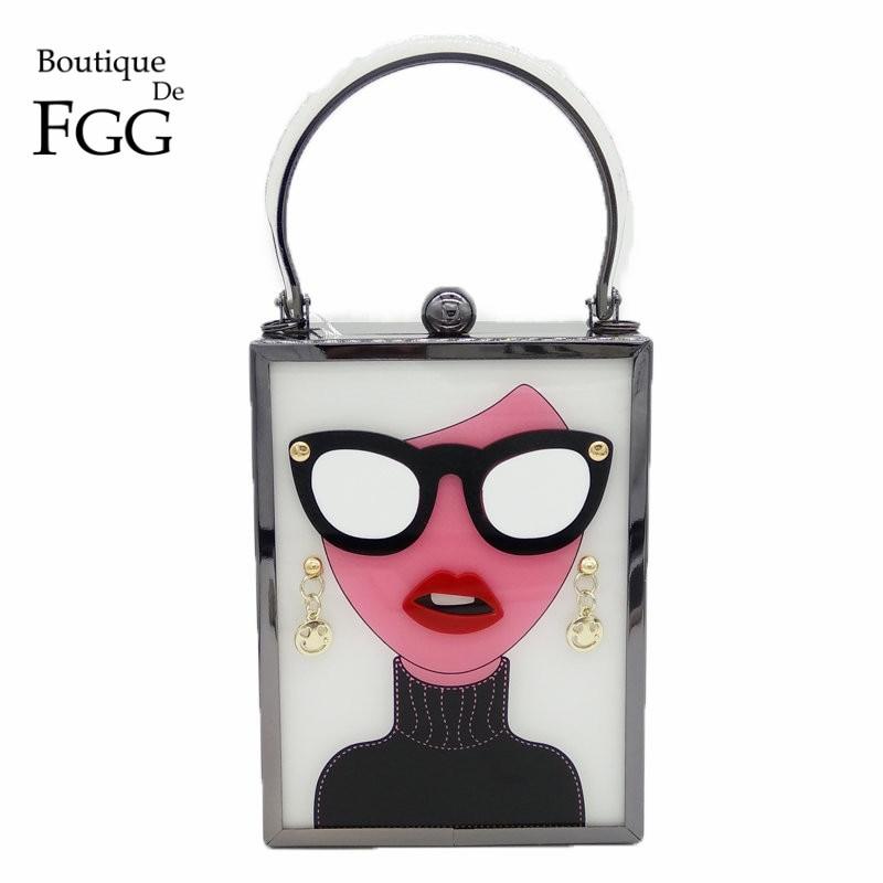 Boutique De FGG Women Fashion Totes Handbags White Acrylic Evening Purse Glasses Girls Chain Clutch Vintage Party Crossbody Bag