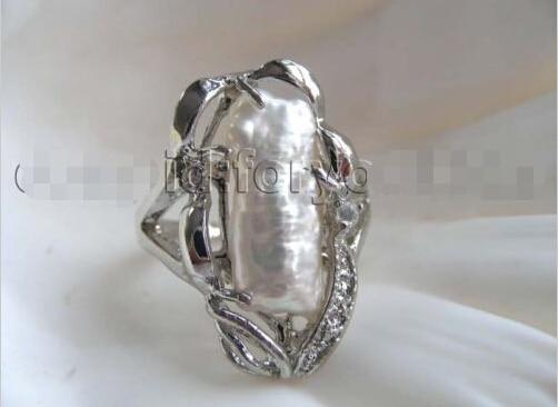 ¡Genuino Nturl Freshwter blanco Biw Perl anillos!