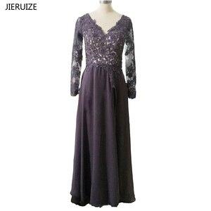 JIERUIZE Grey Lace Appliques Beaded Long Evening Dresses Long Side Slit Long Sleeves Formal Dresses Mother of the Bride Dresses