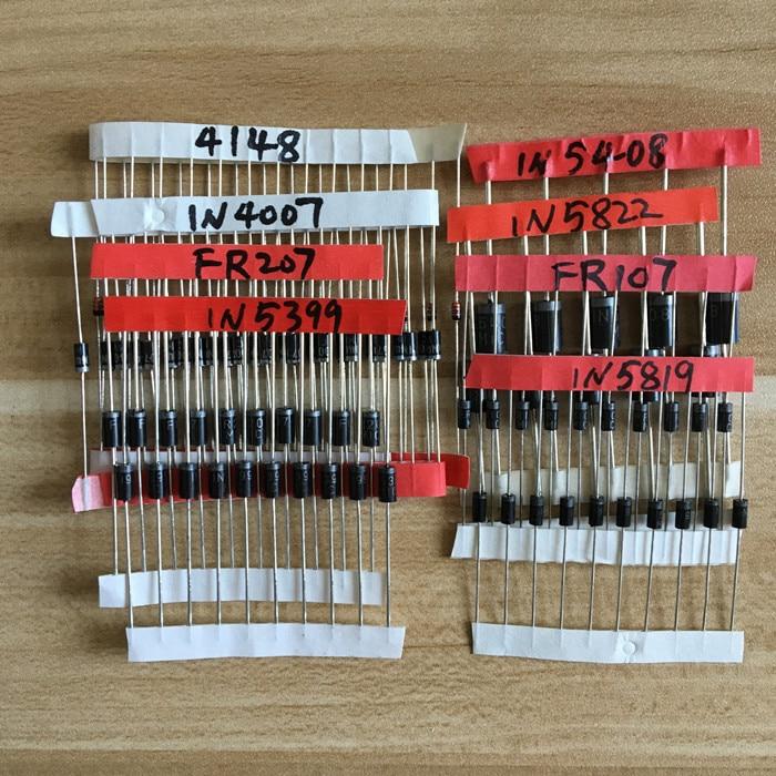 AliExpress - Electronic Components Package,Diode Assorted Kit  1N4148 1N4007 1N5819 1N5399 1N5408 1N5822 FR107 FR207,8 value=100pcs