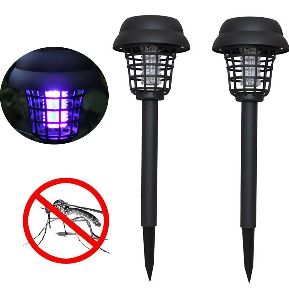 2pcs Solar Powered Lamp Mosquito Repellent LED Light Bug Killer Outdoor Garden Pest Trap Zapper Insect KillerPath Lighting Lamps
