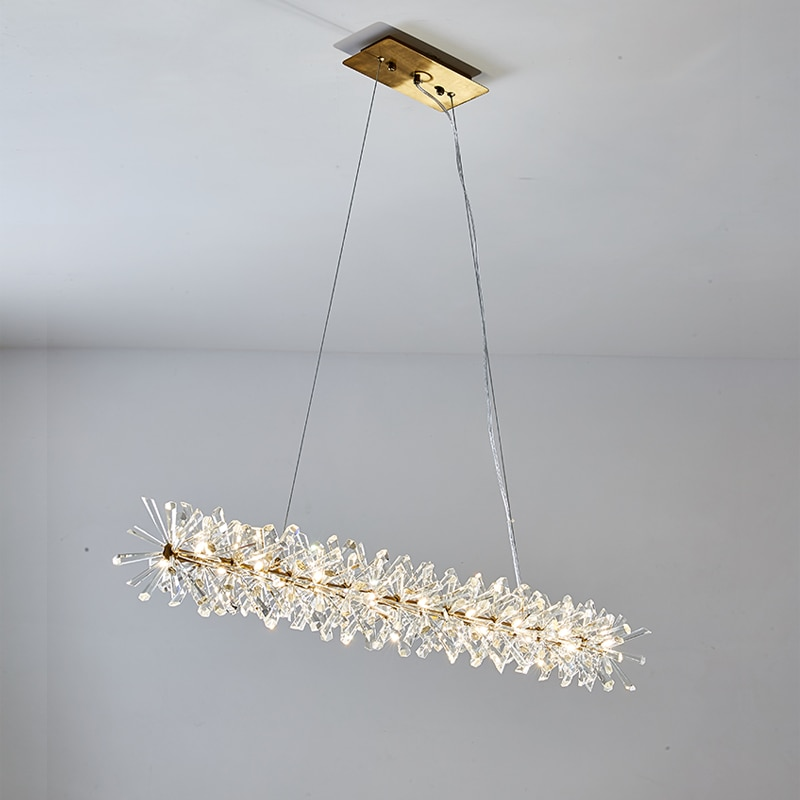 الحديثة طويلة غرفة الطعام الكريستال قلادة مصباح الإضاءة الذهب بريق بهو أضواء AC110V 220 فولت