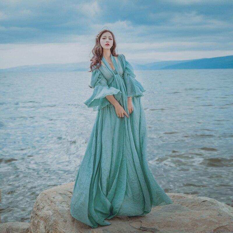 Maxi long beach bandage dress summer ice blue cotton and linen womens flare sleeves ribbon vintage casual boho Bohemian dress