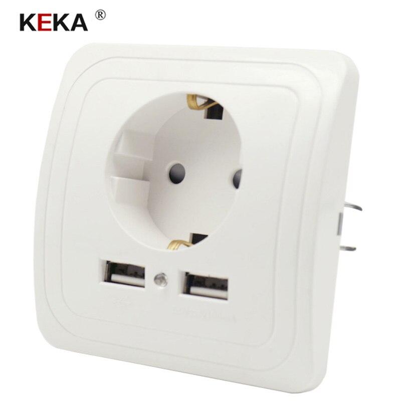 Штепсельная розетка KEKA EU с двумя usb-портами, розетка, настенное зарядное устройство, адаптер для зарядки 2A, настенное зарядное устройство, адаптер, розетка питания, белые поп розетки, CE