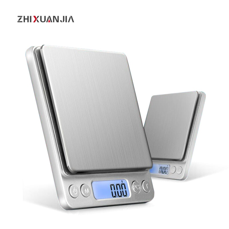 Báscula de cocina con eje de 500g, 1 kg, 2 kg, 3 kg, báscula de bolsillo, herramientas, báscula electrónica LCD para Balanza de alimentos, báscula de joyería steelyard