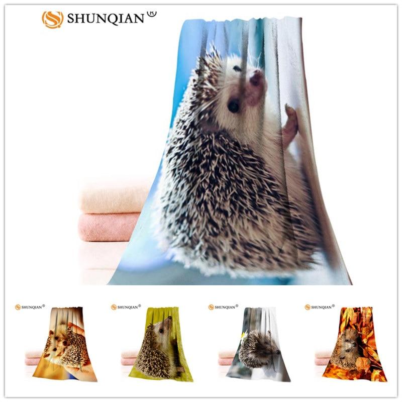Custom Cute Hedgehog 35x75cm Face Towels Facecloth Bamboo Fiber Washcloth Quick drying Sports Towel