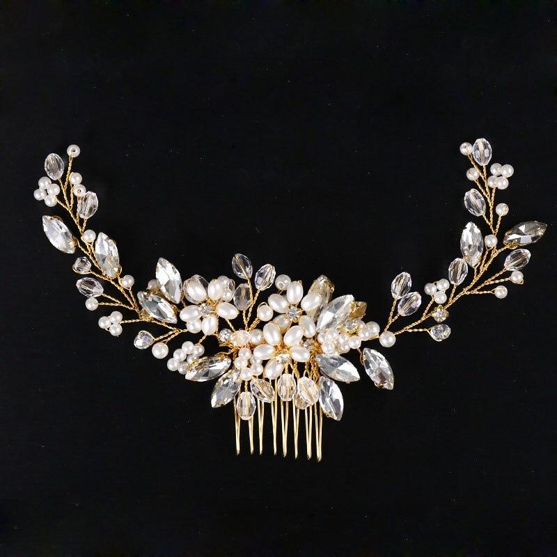 Slbridal artesanal de ouro com fio pérolas flor casamento pente cabelo nupcial headpiece damas de honra bandana acessórios para o cabelo feminino