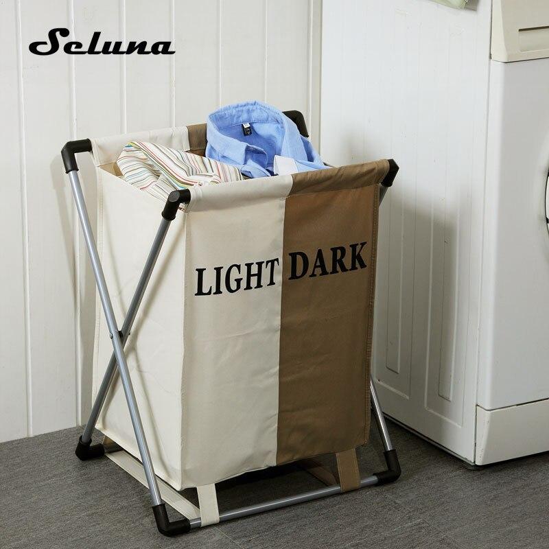 Seluna-سلة غسيل أنيقة ، صندقة أكسفورد سميكة قابلة للطي ، صندوق تخزين بشكلين ، رف الحمام ، حقيبة تنظيم الملابس