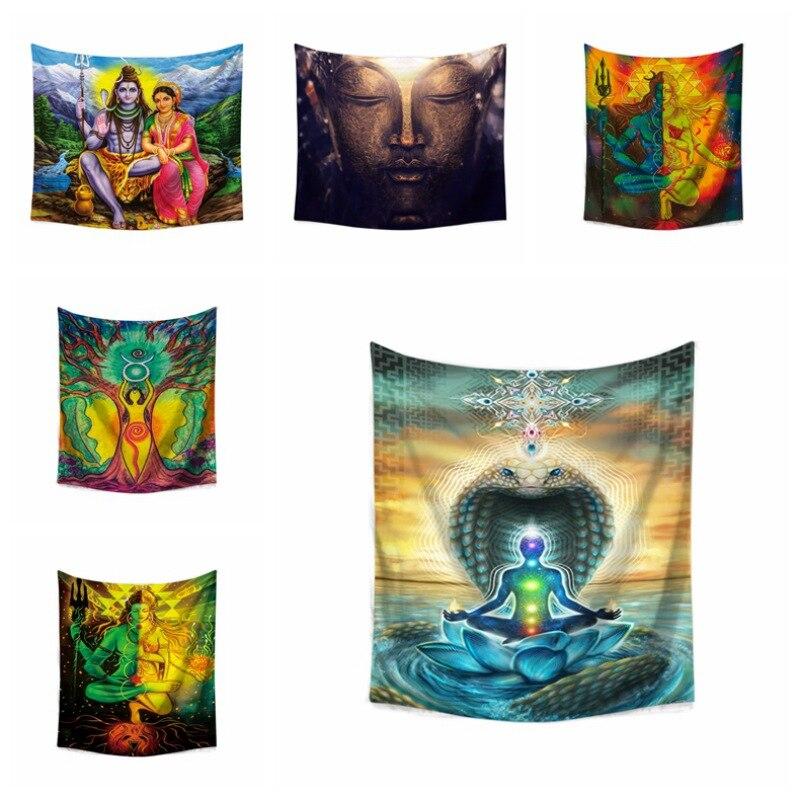 Tapiz colgante de Budismo de estilo indio, tapiz con diseño de estatua de Buda, estera de Yoga para el hogar, alfombra para Yoga decorativa, tapiz colgante de budismo