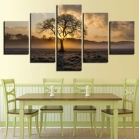 canvas hd modern wall art home decoration living room 5 panel sunset tree landscape print painting modular pictures poster