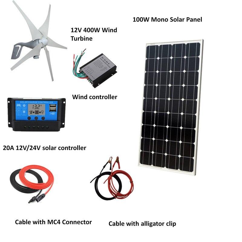 مجموعة النظام الهجين 500 واط/ساعة ، لوحة شمسية أحادية 100 واط ، مولد توربينات الرياح 400 واط ، وحدة تحكم ، ملحقات