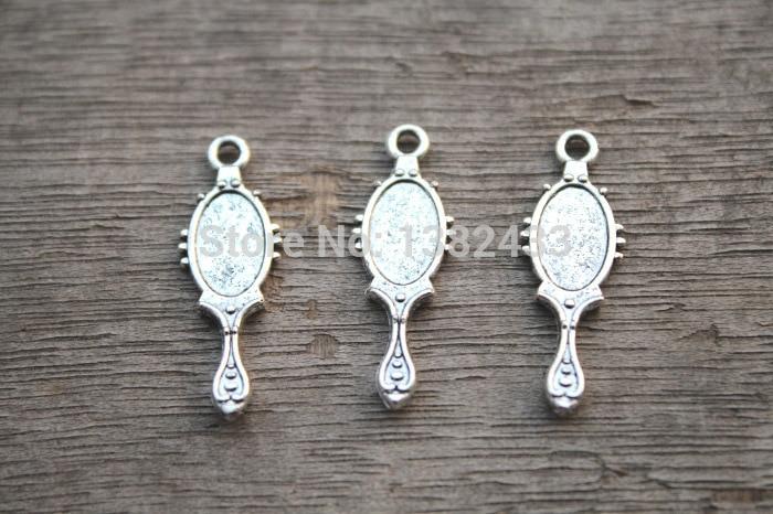 30pcs -- encantos Do Espelho, lacy Espelhos Antigos Tibetanos prata Pingentes Charme 27x10mm