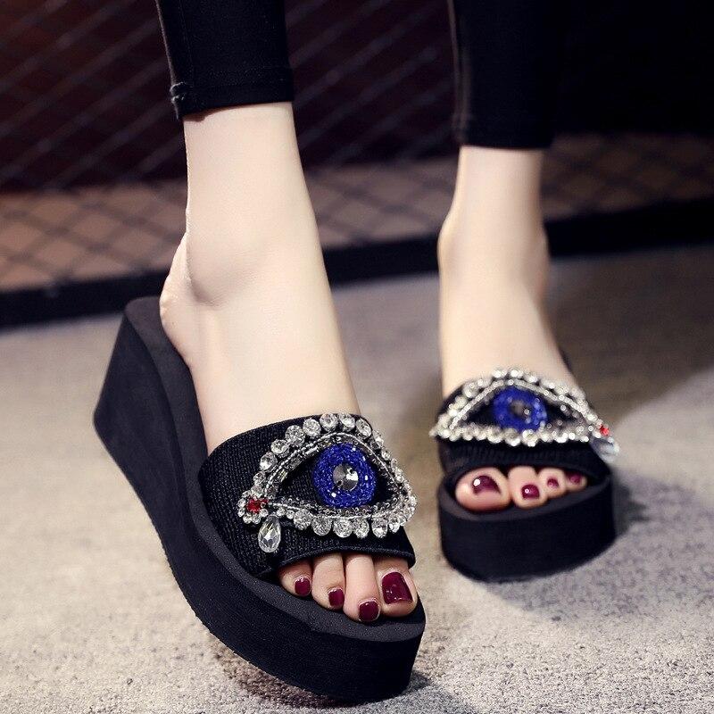 Ojos de cristal sandalias cuñas Sandalias de tela elástica zapatillas de plataforma mujer verano acogedor de fondo suave playa diapositivas de diamantes de imitación