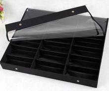 18 slot zonnebril/brillen/leesbril/3d bril zwart display case organizer box clear deksel
