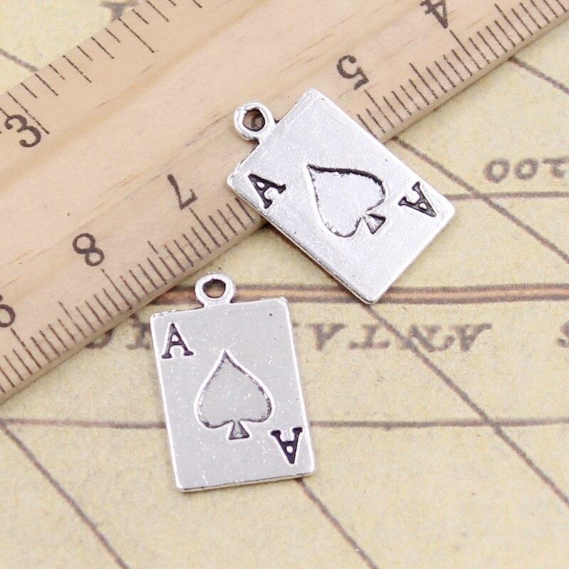 10 stücke Charms ace of spades spielkarte poker 20x12mm Tibetischen silber farbe Anhänger Antike Schmuck Machen DIY Handgemachte Handwerk