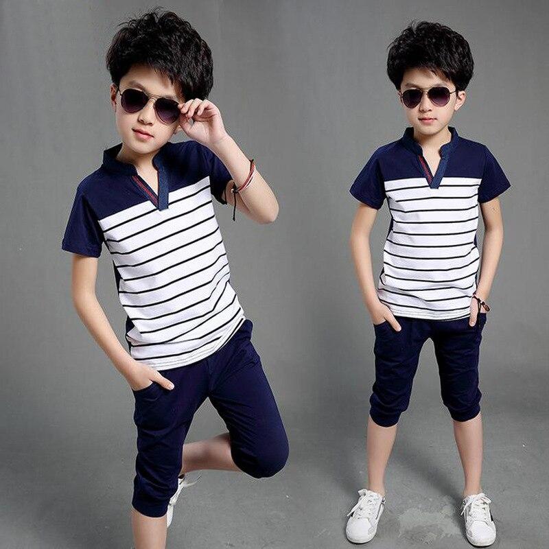 2-10 T ropa para niños conjunto 2019 verano nuevo Casual a rayas cuello pico dos piezas trajes para niños de alta calidad