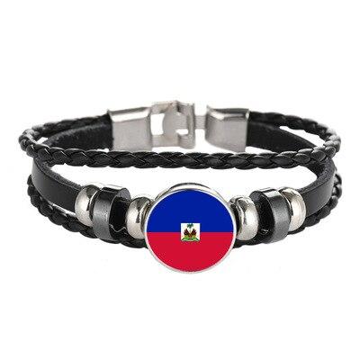 Nouvelle mode haïti drapeau Bracelets en cuir à la mode haïti Bracelets femmes hommes