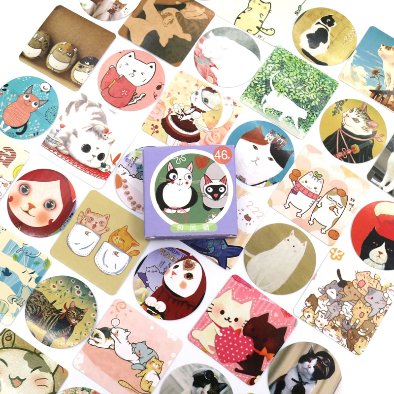 New Cute Colourful cat Paper Lable Stickers Crafts And Scrapbooking Decorative Lifelog Sticker DIY Lovely Stationery 46 PCS/box недорого