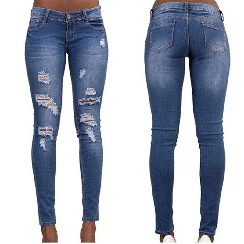 Hodisytian nueva moda mujer Jeans Casual pitillo, novio Denim Pantalones rasgados lápiz pantalones Stretch Hole Pantalones Pantalón Femme