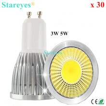 Free shipping 30 pcs Dimmable 5W 3W GU10 E27 MR16 B22 E14 GU5.3 LED COB Spotlight Downlight Droplight bulb lamp light lighting