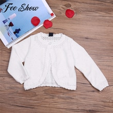 White Infantil Baby Girls Long Sleeve Lace Flower One Button Closure Knit Bolero Shrug Short Warm Sp