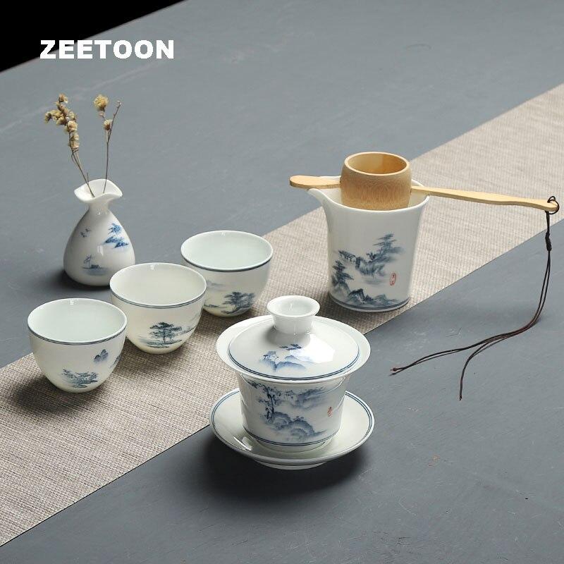 6 unids/set hecho a mano azul y blanco porcelana cerámica Kung Fu juego de té tetera taza cubierta tazón jarrón Filtro de té Kit de taza de feria