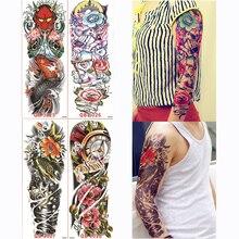 4 peça temporária tatuagem etiqueta cor mecânica flor cheia tatuagem com braço arte do corpo grande falso tatuagem etiqueta