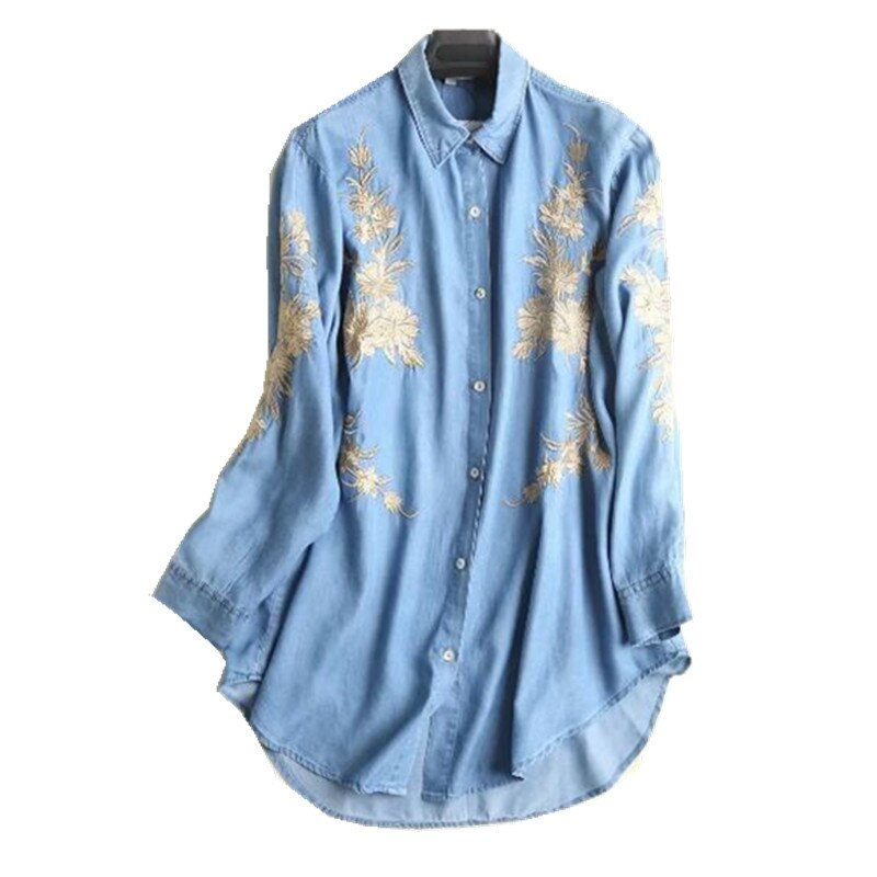 Boyfriend Gold line flor bordada mediados de la Camisa larga 2018 mujeres suelta manga larga Denim blusa Tops blusas chemise mujer blusa
