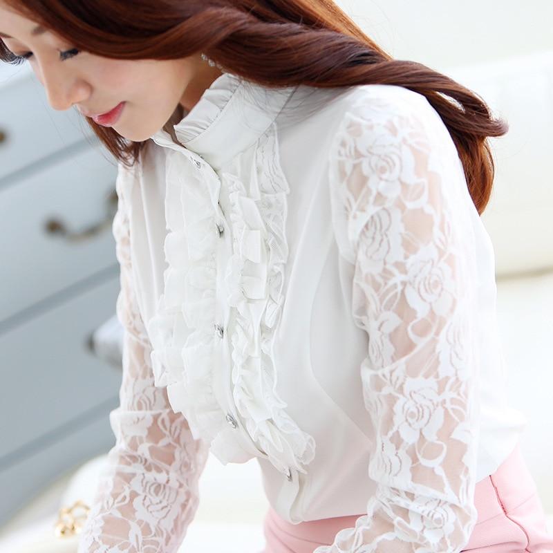 Женская шифоновая кружевная блузка с длинным рукавом, рубашка с оборками, шифоновые топы, новая весенняя