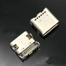 10 stücke 24 P USB 3,1 Typ-C Anschluss 24 Pin Buchse Rechten Winkel Typ C PCB SMT Dual reihe Tab Buchse