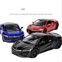 Coche de aleación Honda Acura de alta simulación a escala 132, juguetes de modelo de coche con flash musical de 3 puertas abiertas, metal fundido a presión, envío gratis