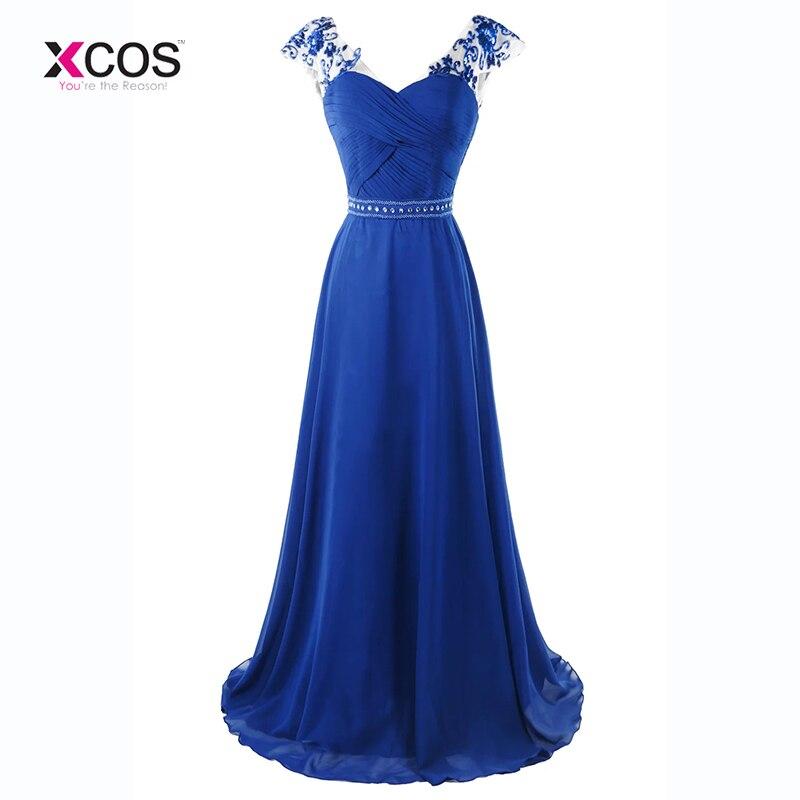 Vestido de fiesta de gasa con cuentas de cristal largo con lentejuelas azules y encaje