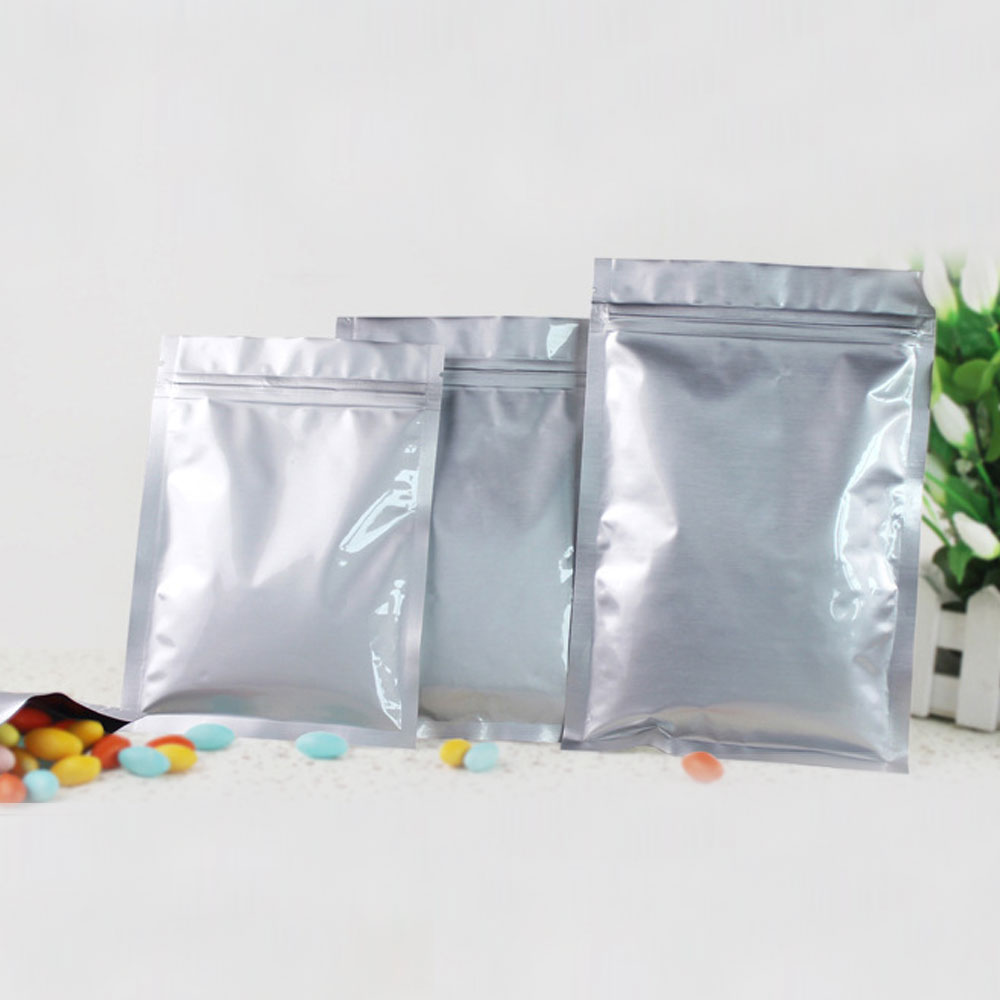 100pcs Aluminum Foil Packaging Bag Flat Zipper Bag Plastic Zip lock Gift Bags For Jewelry/Wedding/Storage/Display Pouches Gifts
